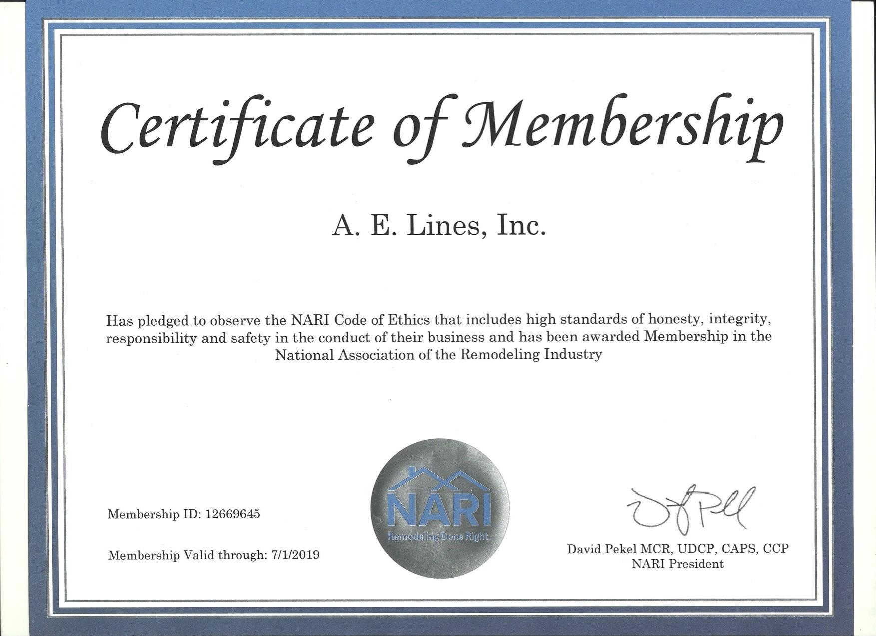 NARI Certificate